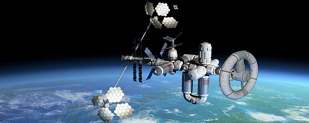View of a Space Station with an Artificial Gravity Module