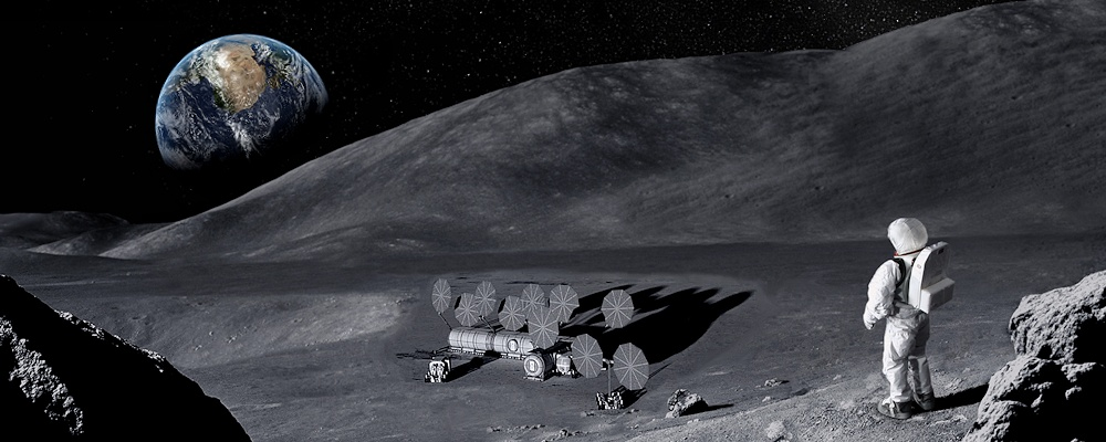 View of the Earth rising over a Lunar Outpost